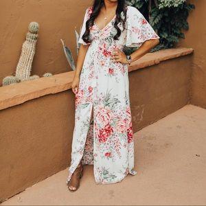 White floral maxi dress